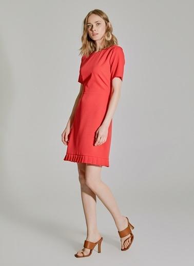 People By Fabrika Pilise Detaylı Elbise Kırmızı